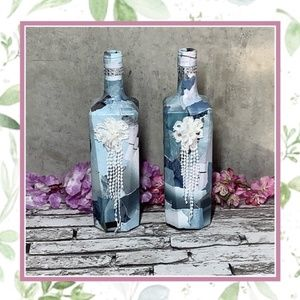 🎀 2PC BOTTLE DECOR BLUE BOHO FLOWER FRINGE BLING
